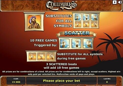 Дикий знак и фриспины в игре Columbus