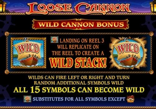 Дикий символ в онлайн аппарате Loose Cannon